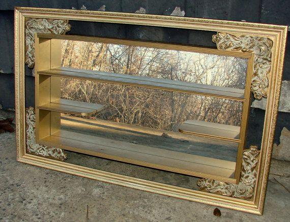 Vintage 1960s Hollywood Regency Mirror Shadow Box By Rusticcreek