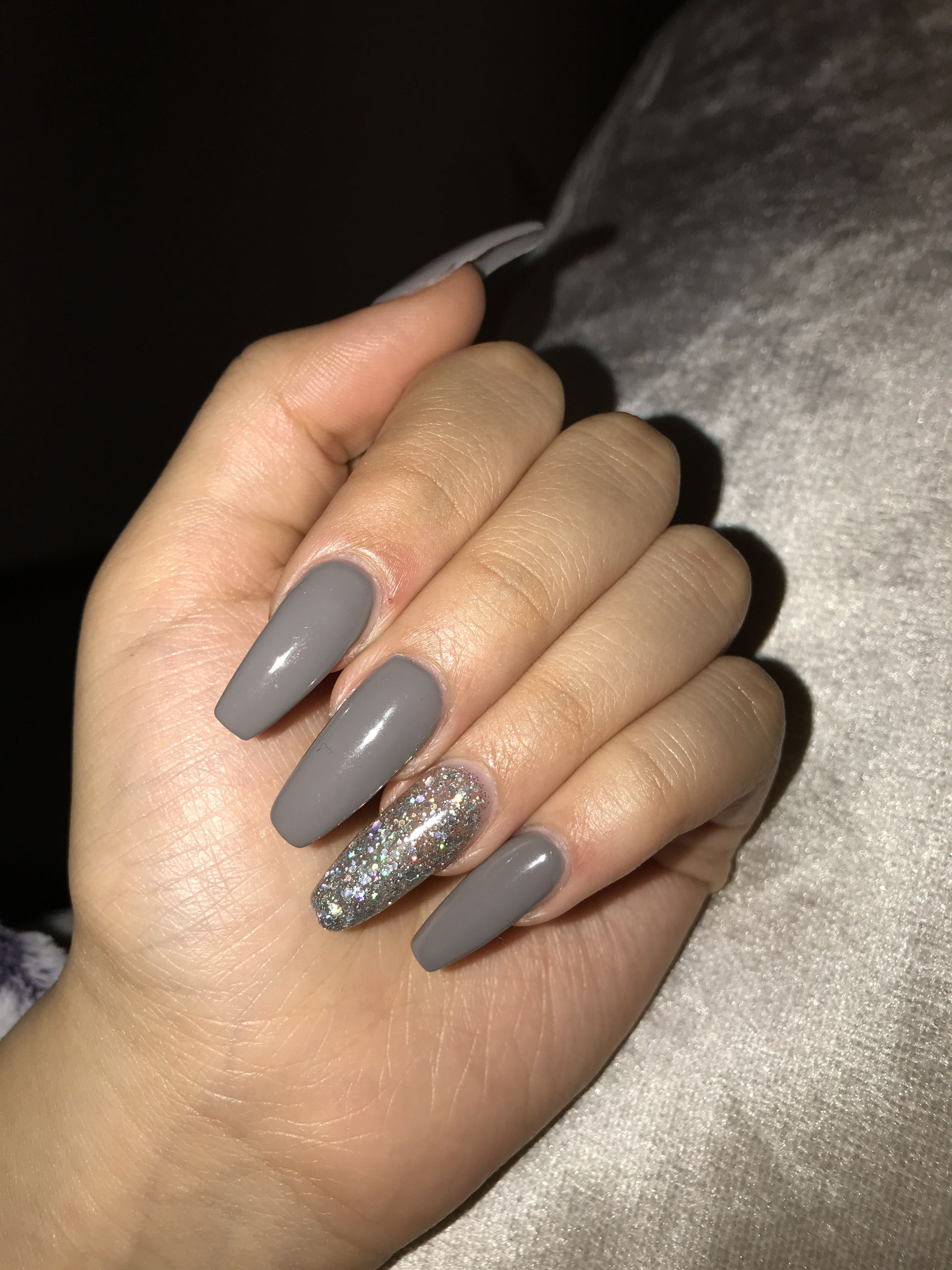 Grey Sparkle Coffin January Acrylic Nails Grey Acrylic Nails Prom Nails Silver Prom Nails