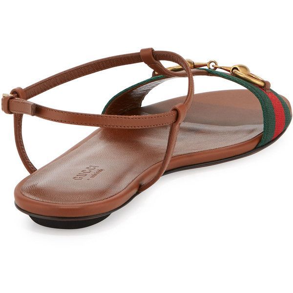 370c97b53 Gucci Leather Web T-Strap Flat Sandal ( 580) ❤ liked on Polyvore featuring  shoes