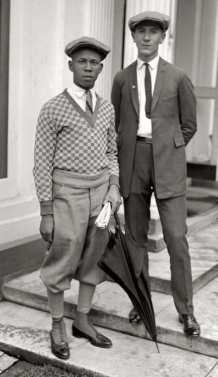 ... Simon Zebrock of Los Angeles - 1924 teenage boys in (L) knicker pants  with sweater and (R) skinny