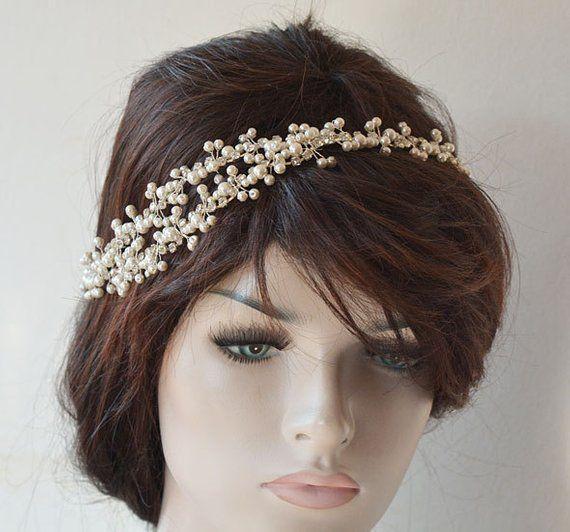 Wedding Pearl Hairpiece, Crystal Bridal headpiece, Wedding Headband, Rhinestone and Pearl Bridal Headband, Bridal Halo Hair Vine, for Bride