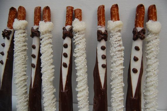Bride And Groom Chocolate Covered Pretzel Rods Wedding