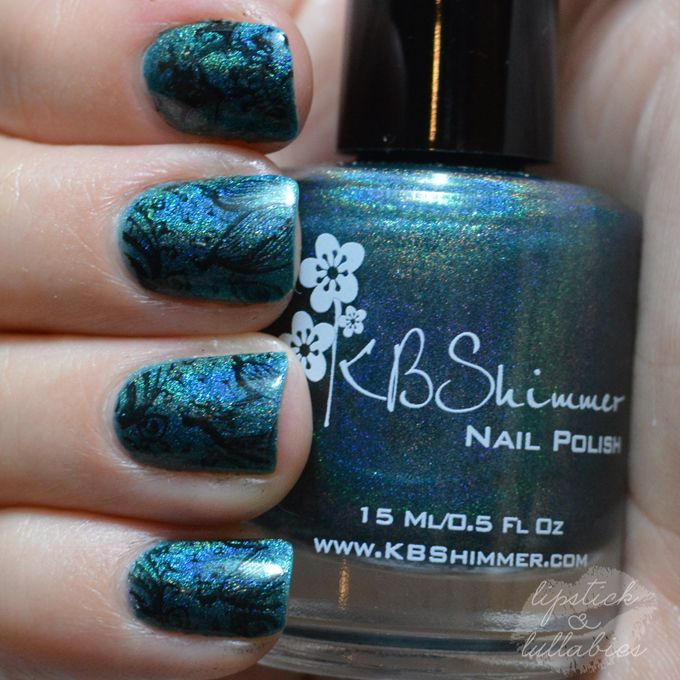 Blue holo stamped Mani Monday & Custom Stamp Giveaway! | Lipstick and Lullabies