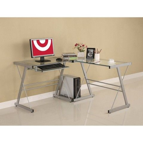 Glass L Shaped Computer Desk With Keyboard Tray Silver Saracina Home Contemporary Computer Desk Glass Computer Desks Saracina Home