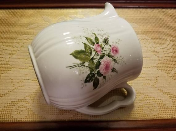 Hall China Company Heather Rose Pattern Handled Pitcher Kitchen Ware Beverage Milk 40's 50's Pink Rose Pattern #kitchenware