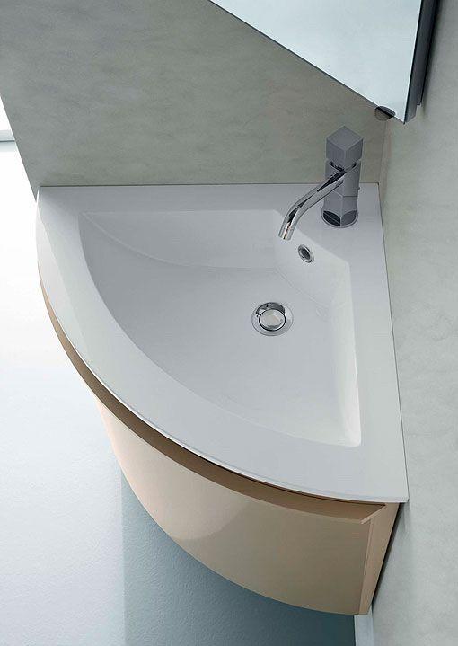 Lavabos en esquina para ba os peque os ambientes - Cuartos de aseo con ducha ...