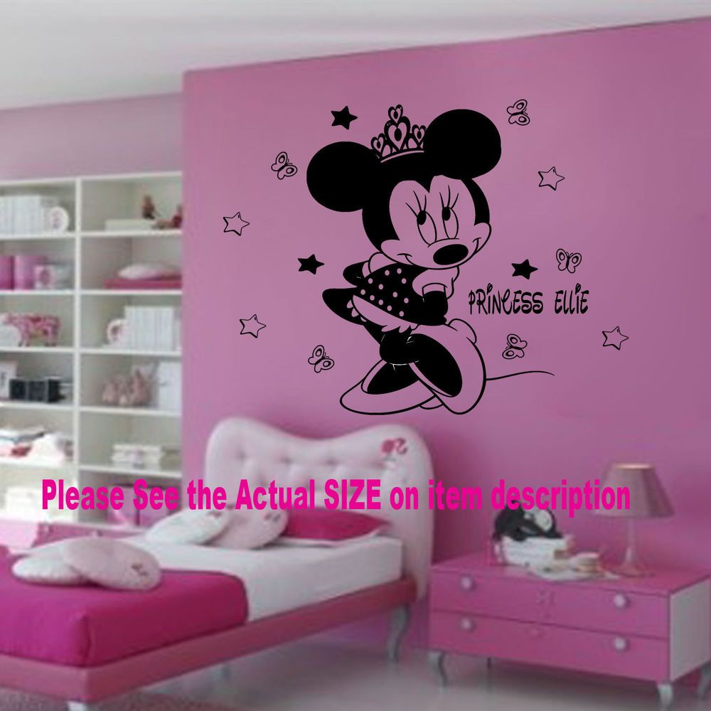 Disney minnie mouse crown personalised name vinyl wall stickers disney minnie mouse crown personalised name vinyl wall stickers decals 14 stars amipublicfo Images