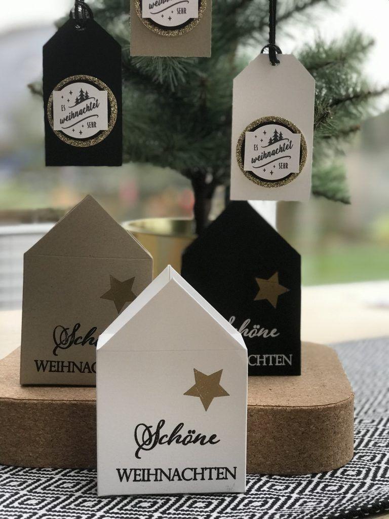 Deko Hauschen Mit Passendem Tag Grusse Zu Weihnachten Verpackung