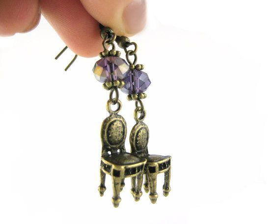 chair earrings. tiny chair earrings dangle kitsch by spotlightjewelry, $21.95 e