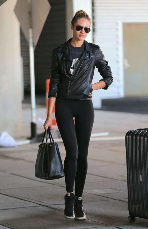 Candice Swanepoel in Black Leggings  Total Black Sport OutfitBest Of!!
