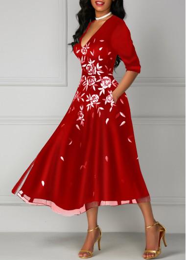 aca88d2dc91 Red Pocket V Neck Flower Print Dress on sale only US 35.14 now