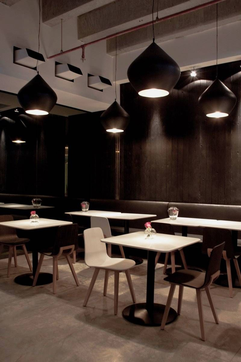 Interior in black modern restaurant in black and white for Interior theme ideas
