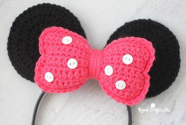 Crochet Minnie Mouse Ears Headband (Repeat Crafter Me) | Häkeln ...