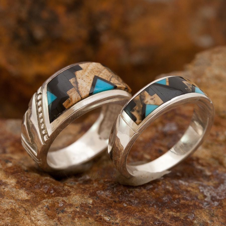 David Rosales Couples' Set Turquoise Creek Inlaid Sterling