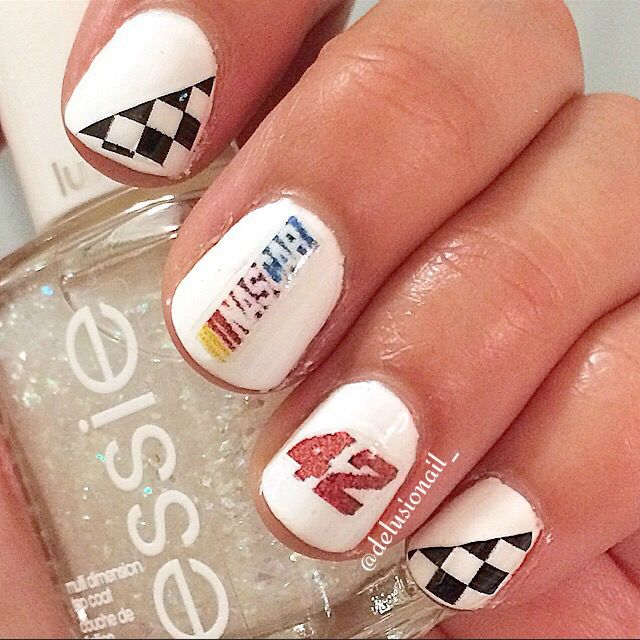 15aac3d9b NASCAR nails - Kyle Larson #42 and NASCAR logos using homemade nail decals.  Print tiny logos on water decal paper and voila!
