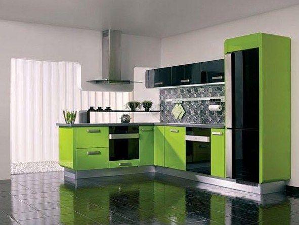 Küche Im Grün Im Weißen Innenraum Stock Abbildung,störmer Küchen