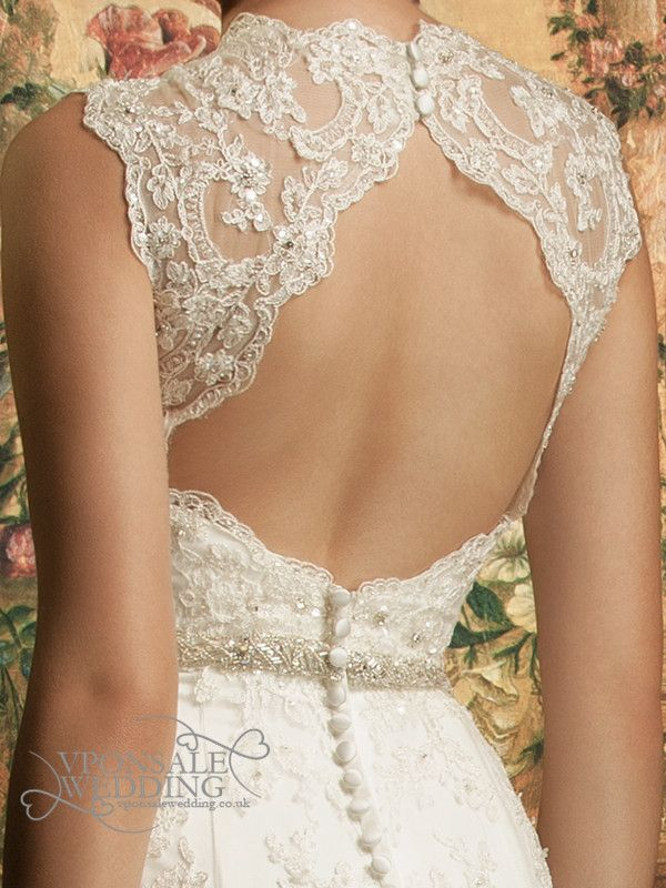 backless lace full length wedding dress with train DBW014 (3 ...