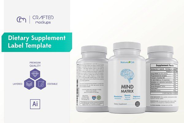 Dietary Supplement Label Template by Crafted Mockups on - labeltemplate