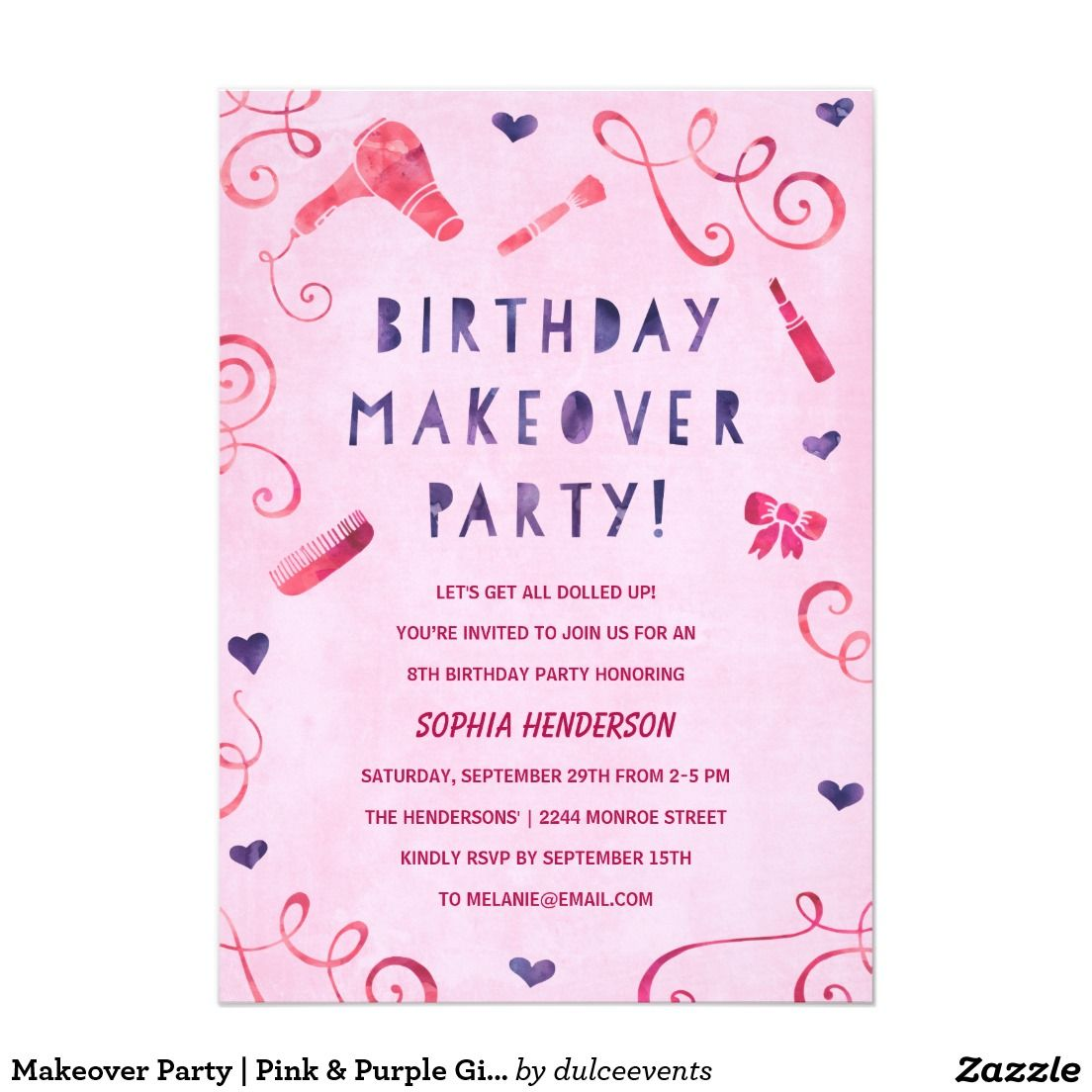 Makeover party pink purple girls birthday card stopboris Images