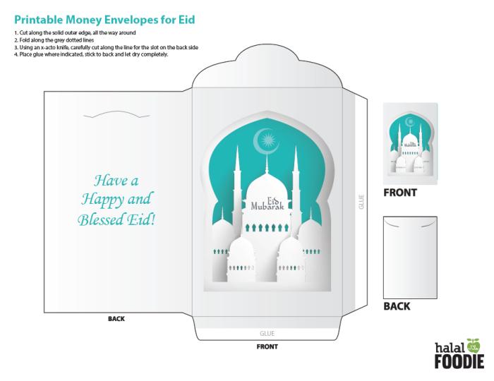 Printable Money Envelope For Eid Use It For Cold Hard Cash Or Yummy Treats Amplop Kartu Desain