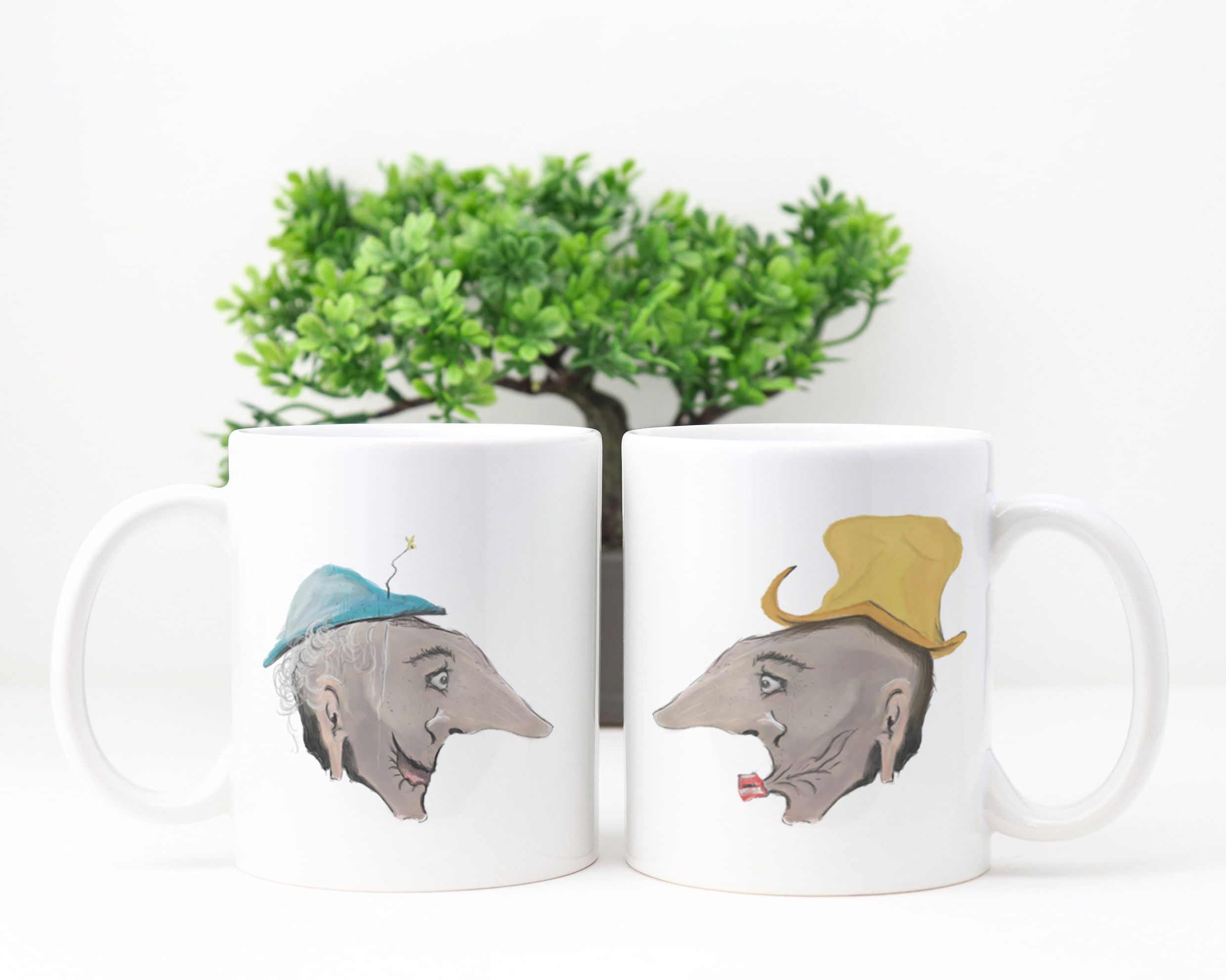 Funny Wedding Gift Mugs Old People Cartoon Cups Gift For Couples
