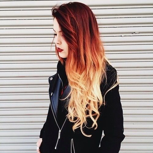 Frisur farbverlauf rot