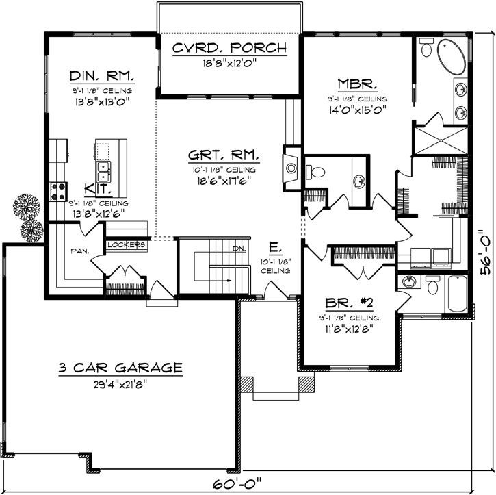 Image Result For Floor Plan Bungalow Covered Deck 3 Car Garage 2 Bedroom 2 Bath Contemporary House Plans Pole Barn House Plans House Plans One Story