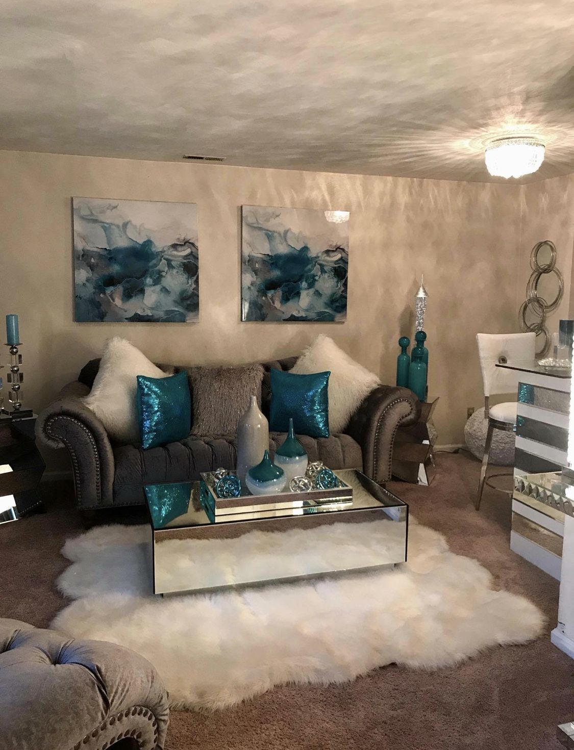 Best Pinterest X3M3Ly Teal Living Rooms Glam Living Room Apartment Decor 640 x 480