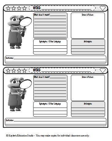 Vocabulary journal template | Homeschool Room | Pinterest ...