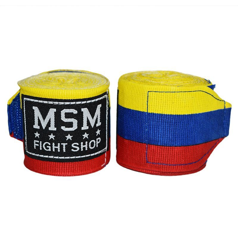 MSM Fight Gear Semi Elastic Boxing Handwraps - Tri Color Yellow/Blue/Red - 5 Meters - 180 Inch