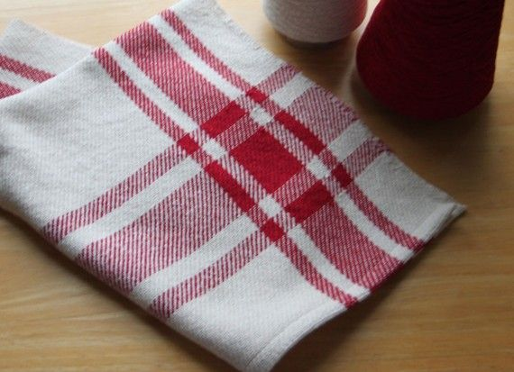 Farmhouse red and ivory plaid kitchen tea towel handwoven by Kate Kilgus, Londonderry, New Hampshire, of Nutfield Weaver.