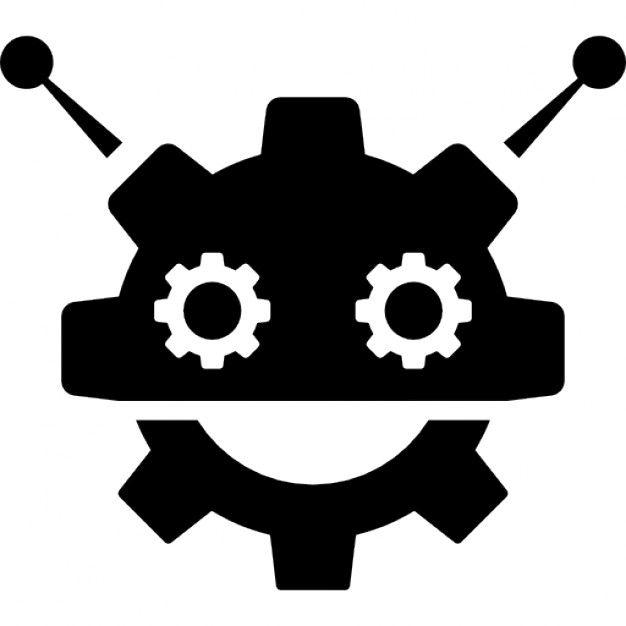 Download Robocog Logo Of A Robot With Cogwheel Head Shape For Free Robot Logo Robot Icon Logos
