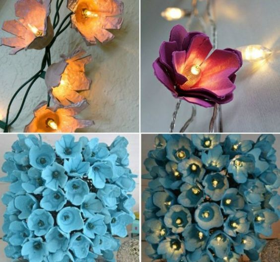 Basteln Eierkarton Idee Lichterkette Blumen Blau Pink