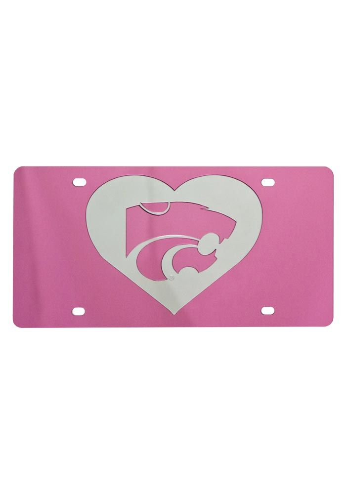 k-state wildcats pink acrylic powercat heart license plate   i bleed