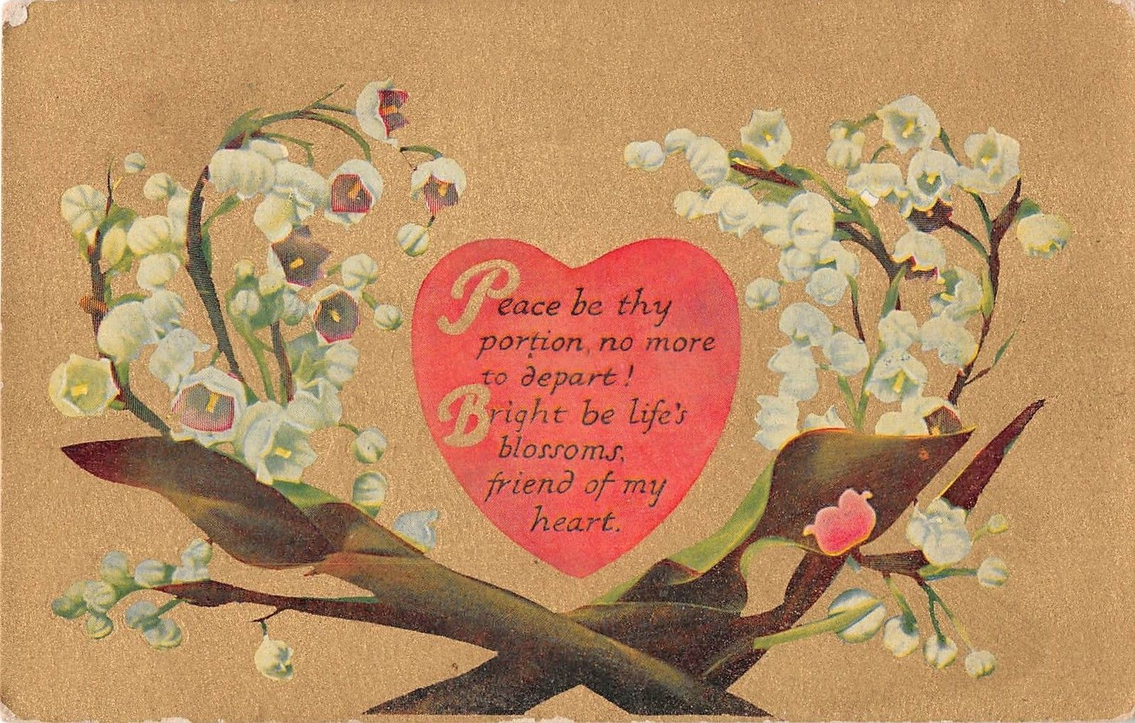 Lovely Lily Of The Valley Around Poem On Heart On Gold Background