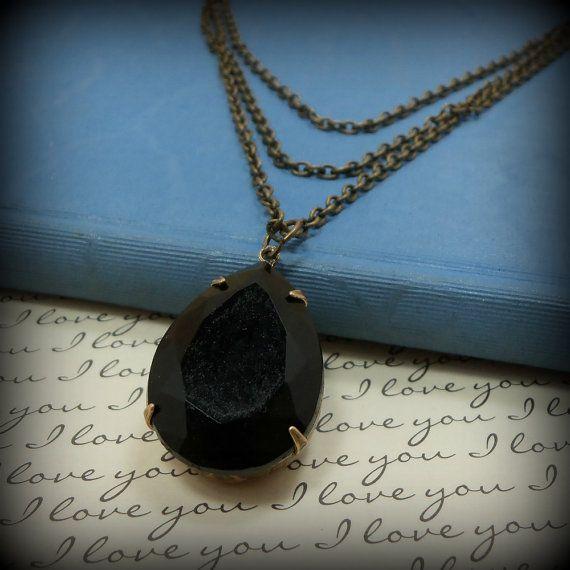 Vintage Jewel Jet Black Multi Strand Necklace by DivineBijoux, $25.00