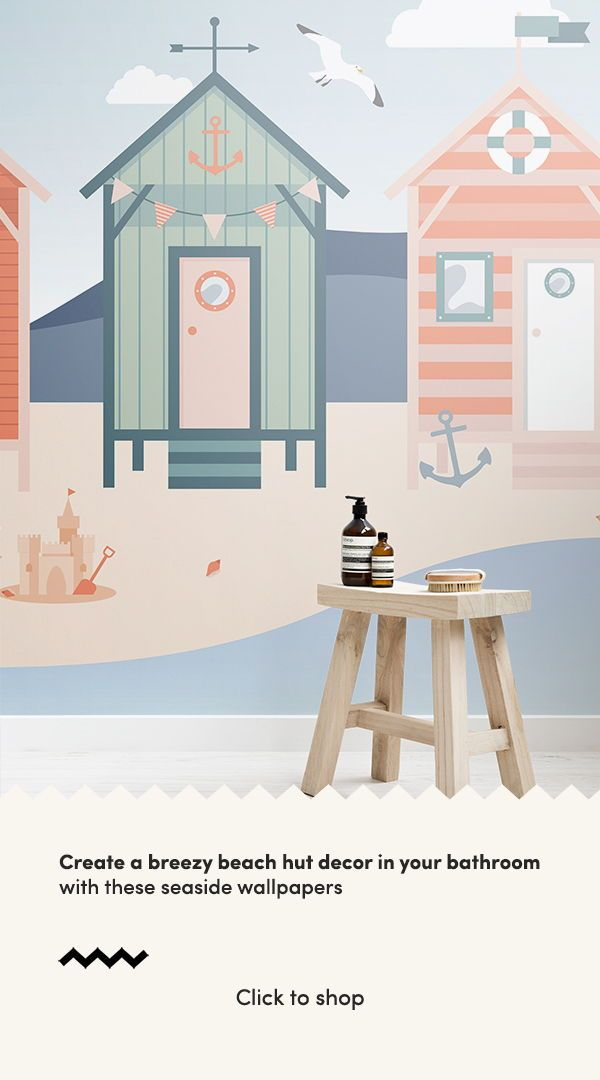 Beach Huts Wallpaper Coastal Seaside Theme Muralswallpaper In 2020 Beach Hut Decor Seaside Wallpaper Beach Themed Bedroom