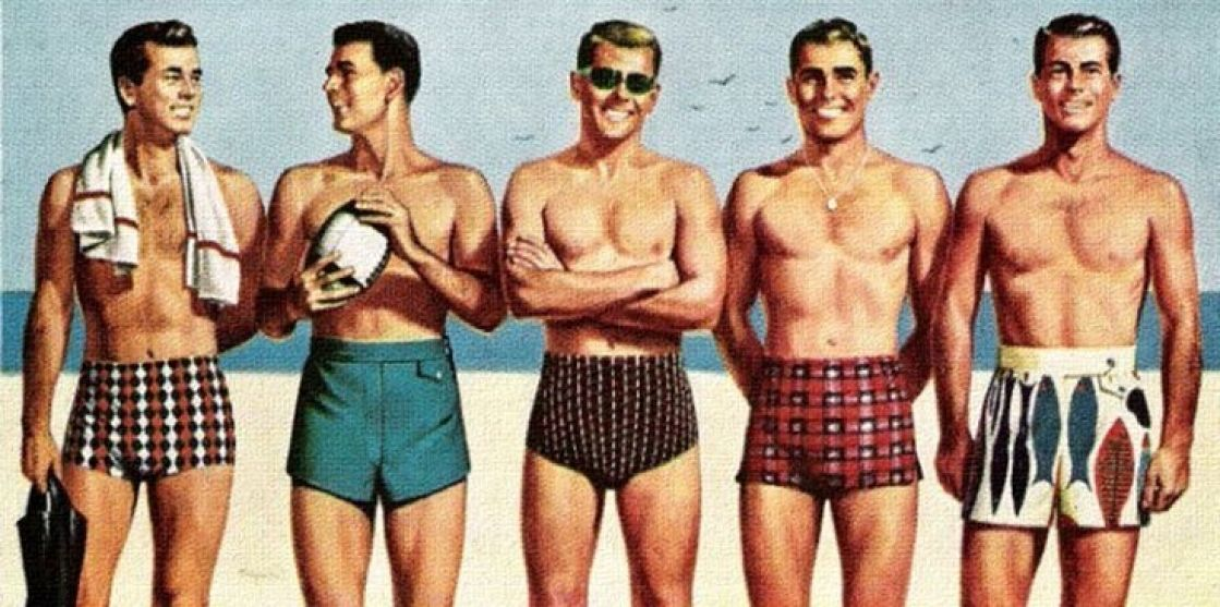 939d6f4157 Image result for 1950s swimwear. 1950s Men39s Swimwear Vintage Fashion Mens  ...