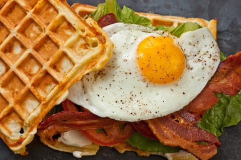 Savory Cheddar Waffles: crumbled the bacon & added to the waffle batter with some chipotle and garlic powder -- YUMMY!!!