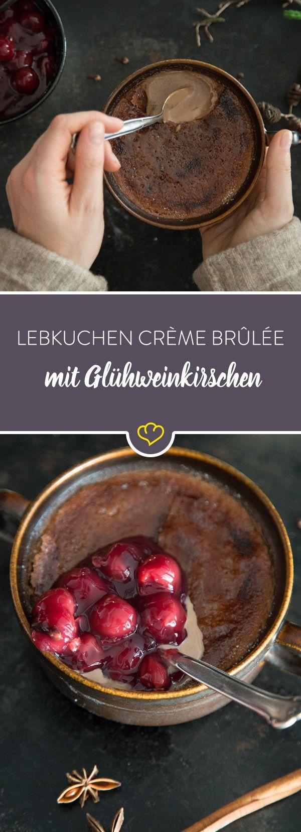 Schokoladige Lebkuchen-Crème-brûlée mit Glühweinkirschen #cremebrulée