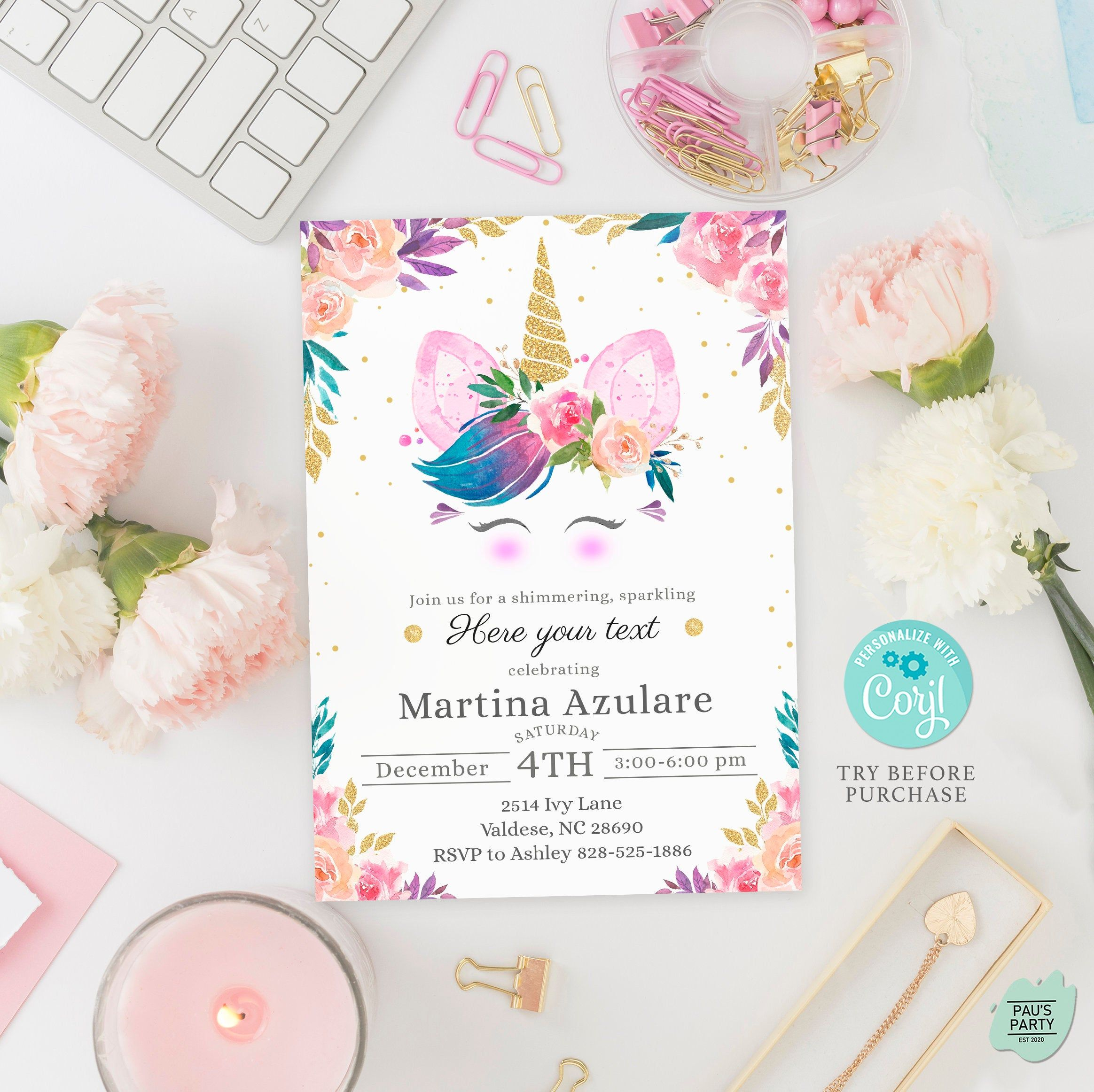 Editable Unicorn Invitation Template With Fully Editable Text For Magical Unicorn Party Try B Unicorn Birthday Invitations Unicorn Invitations Unicorn Party