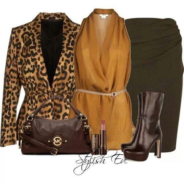 Leopard & bronze/brown skirt set
