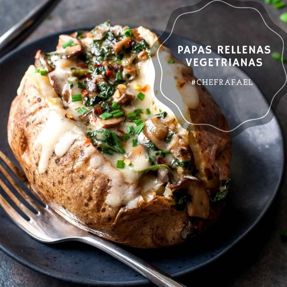 Papas Rellenas Vegetarianas Papas Rellenas Recetas De Papas Al Horno Comida Nutritiva