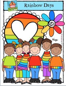 Rainbow Days Kids P4 Clips Trioriginals Digital Clip Art Clip Art Digital Clip Art Art