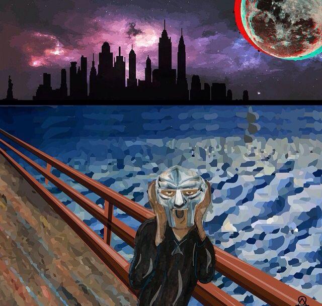 MF DOOM in New York illustration done using adobe illustrator by