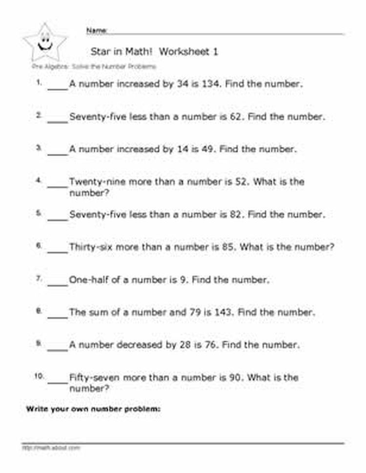 Pre Algebra Number Problem Worksheets With Answers | Algebra ...