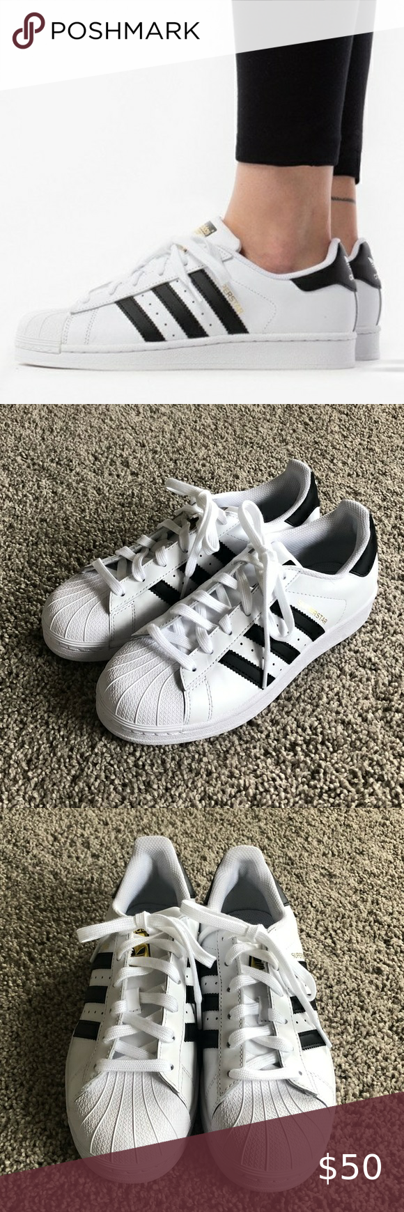 All White Adidas Superstar Sneakers Size 6 Womens