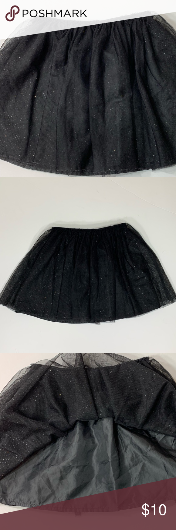 5796acca6d Cat & Jack tulle skirt Black tulle skirt with gold sparkles Elastic  waistband Size 7/8 Cat & Jack Bottoms Skirts
