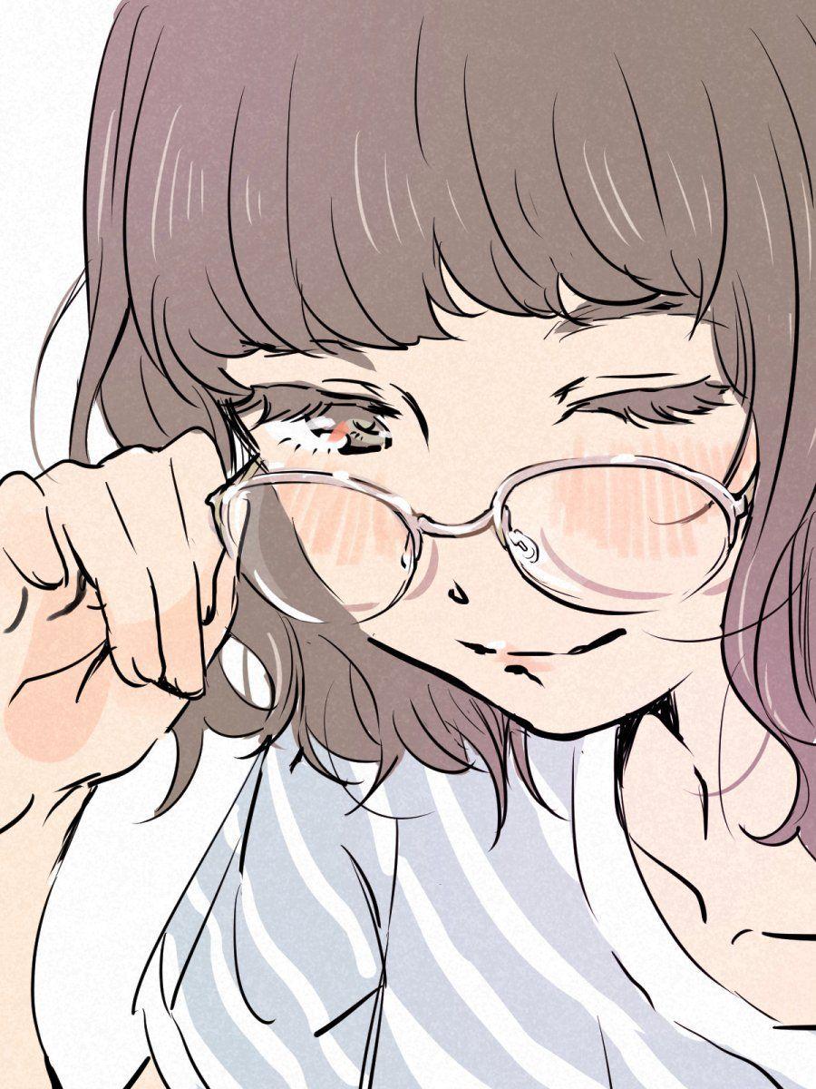 6 Anime Icons Girl Glasses Anime Art Girl Anime Art Cute Art