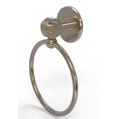 Allied Brass Satellite Orbit Two Wall Mounted Single Towel Ring with Groovy Detail Finish:
